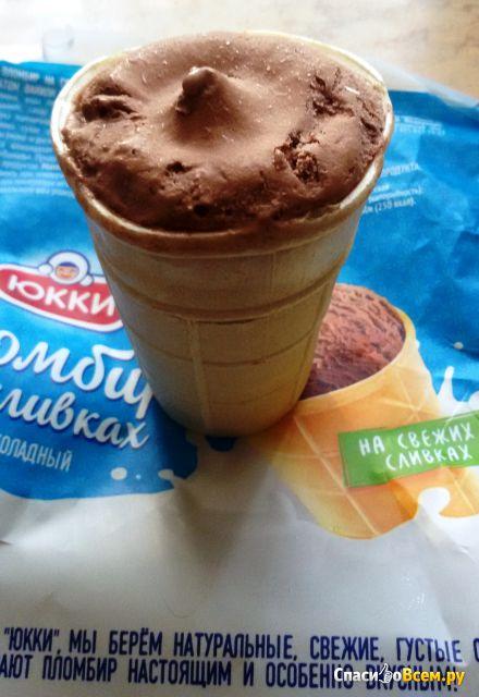Мороженное пломбир на сливках шоколадный Юкки фото