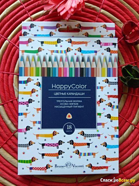 Карандаши цветные 18 цветов HappyColor Bruno Visconti фото