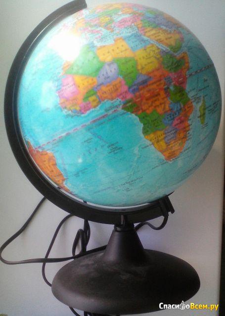 """Глобус с подсветкой """"Глобусный мир"""" политическая карта фото"""