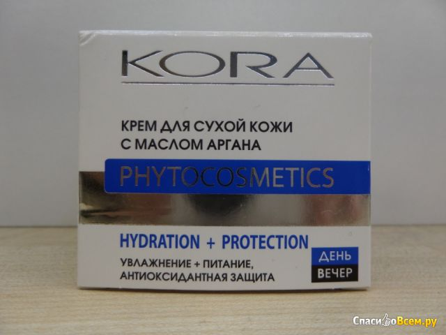 """Крем для сухой кожи с маслом аргана, КОРА """"Увлажнение + питание, антиоксидантная защита"""" фото"""
