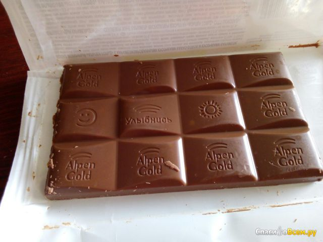 """Молочный шоколад Alpen Gold """"Какао-бобы и карамель"""" фото"""