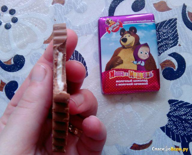 """Молочный шоколад с молочной начинкой """"Маша и Медведь"""" Детский сувенир фото"""