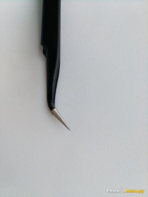 Изогнутый пинцет для наращивания ресниц Lucas` Cosmetics CC Lashes ESD-15