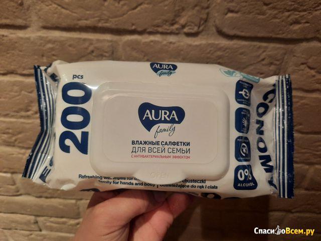 """Влажные салфетки для всей семьи с антибактериальным эффектом """"Aura"""" Family фото"""