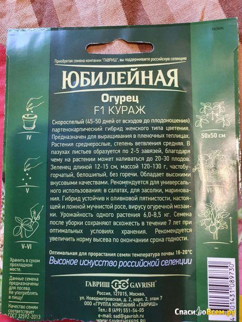 Семена огурцов Кураж F1 Гавриш
