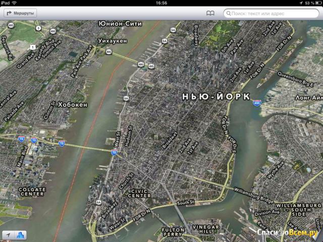 Приложение Карты для iPad