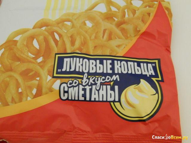 """Снеки картофельные Mini Free """"Луковые кольца"""" со вкусом сметаны"""