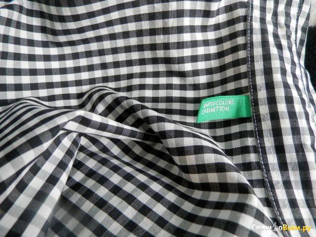 Женская рубашка Benetton в черно-белую клетку