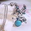 Ожерелье BOBO Fashion Style African Turquoise Necklace Women Tibetan Silver Natural Stone Peacock