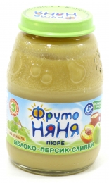 Детское пюре ФрутоНяня яблоко-персик-сливки