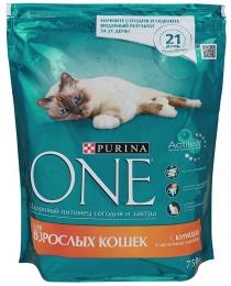 Корм сухой полнорационный для взрослых кошек Purina One с курицей и цельными злаками