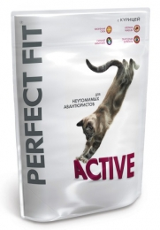Полнорационный сухой корм Perfect Fit Active с курицей для взрослых кошек