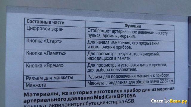 Тонометр автоматический MediCare BP105A фото