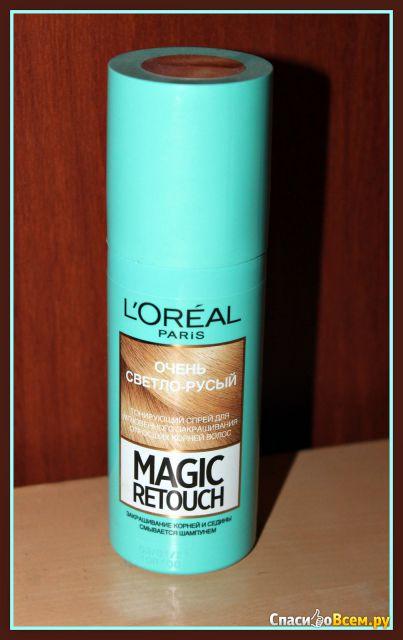 """Спрей для окрашивания отросших корней """"Magic Retouch L'Oreal"""" оттенок очень светло-русый фото"""